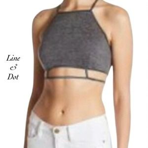 Line & Dot Charcoal High Neck Bralette NWT Size L